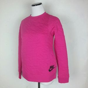 Nike Girls Youth Quilted Pattern Sweatshirt Pink